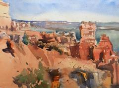 Castles in Utah II - Watercolor - 12x18