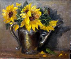 Sunflowers and Silver - Oil - 8x10