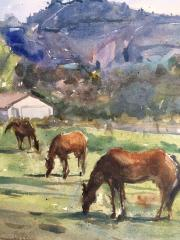 Three Horses in Ordervillel - Watercolor - 15x11