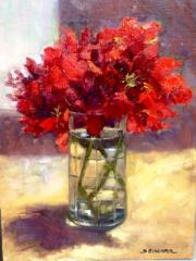 Geraniums in a Glass - Oil on Panel - 12x9