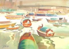 China Boats on River 1944 by Milford Zornes: click to enlarge