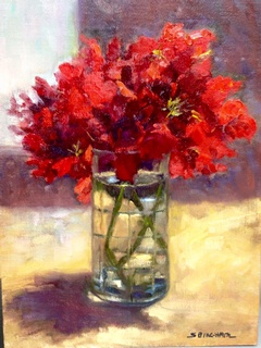 Geraniums in a Glass: click to enlarge